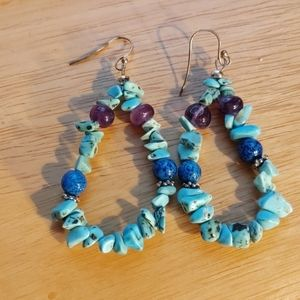 Turquoise lapis and amethyst sterling earrings